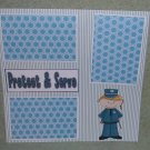 """Protect and Serve Girl""-Premade Scrapbook Page 12x12"