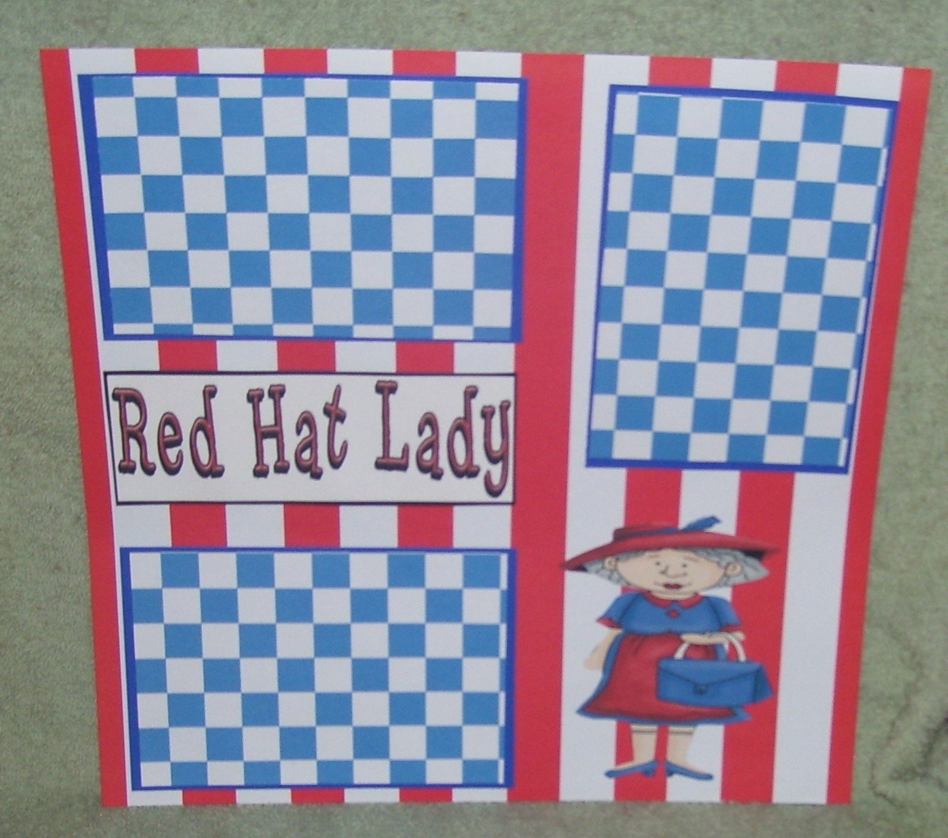 """""""Red Hat Lady""""-Premade Scrapbook Page 12x12"""