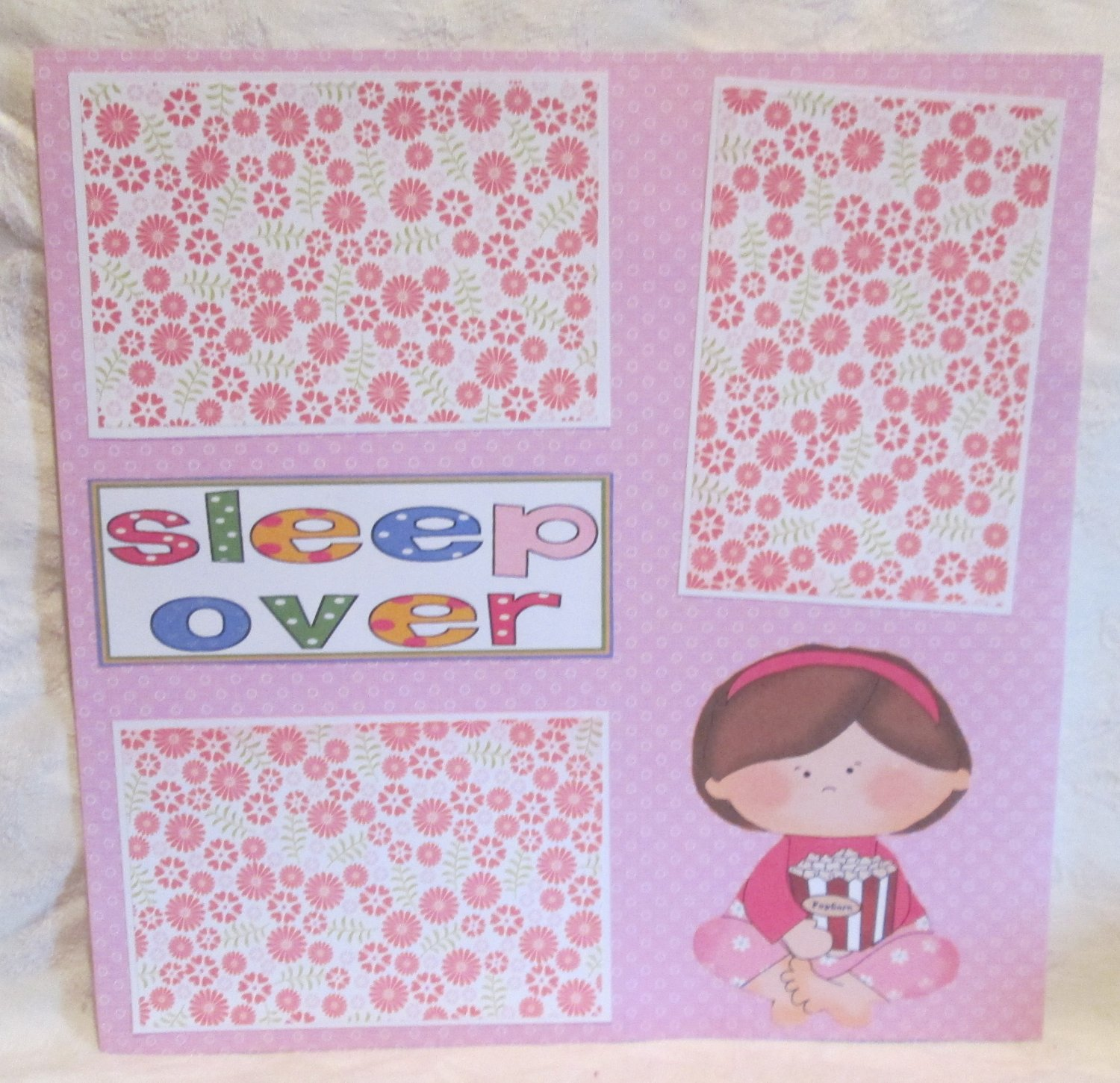 """Sleepover""-Premade Scrapbook Page 12x12"