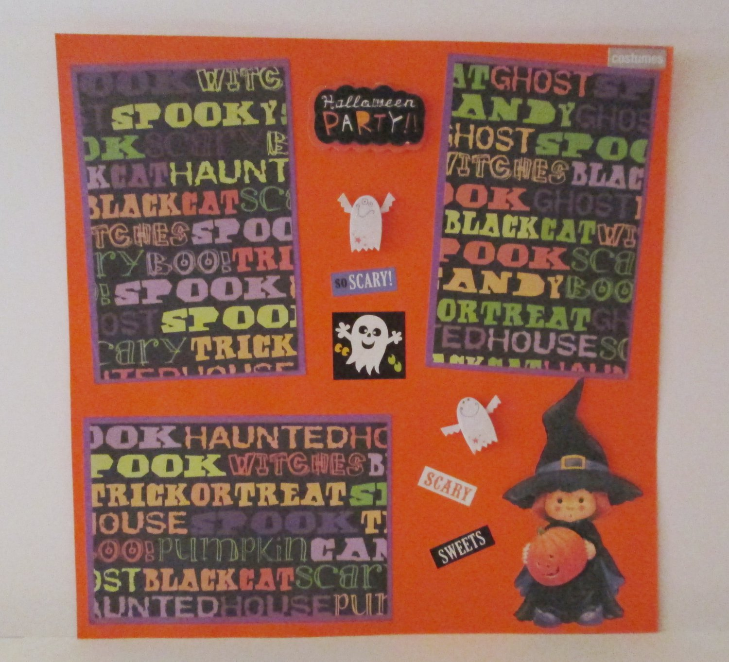 """Halloween Party Witch s1""-Premade Scrapbook Page 12x12"