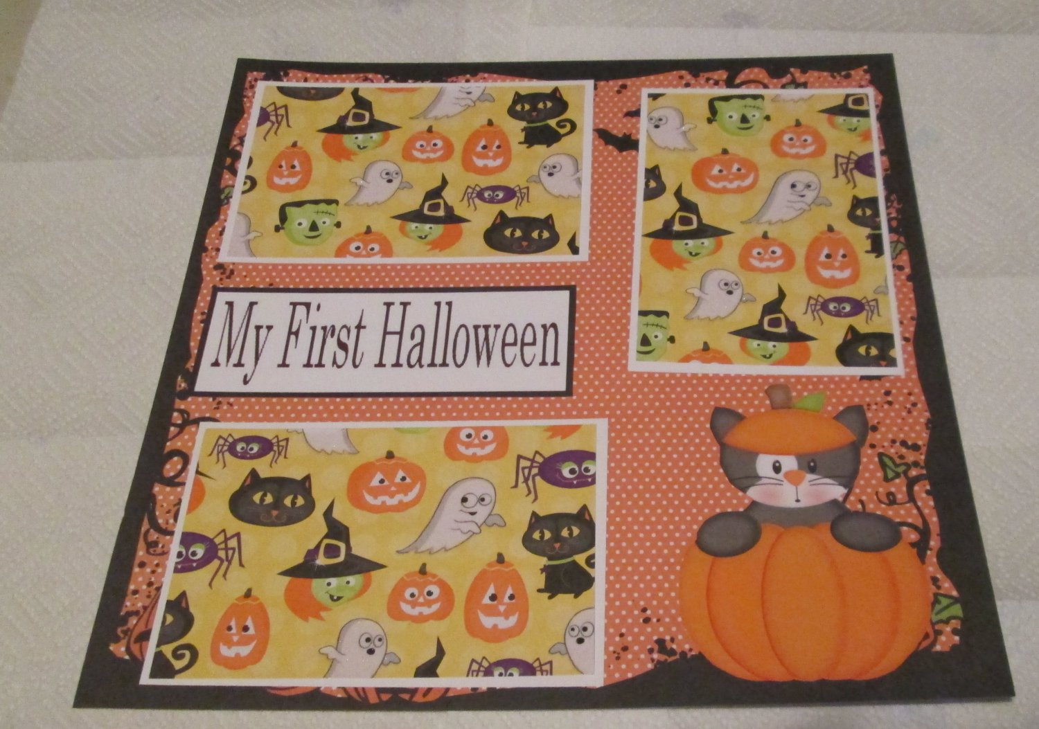 """""""My First Halloween Cat""""-Premade Scrapbook Page 12x12"""