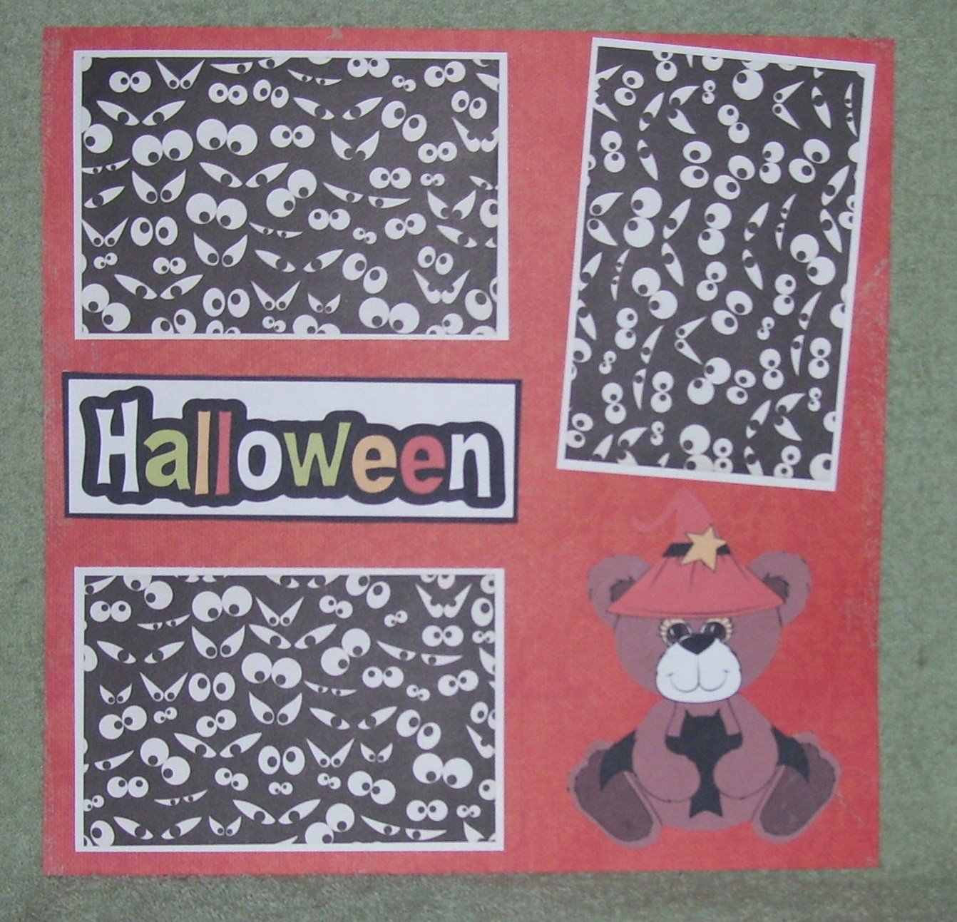 """Halloween Bear""-Premade Scrapbook Page 12x12"