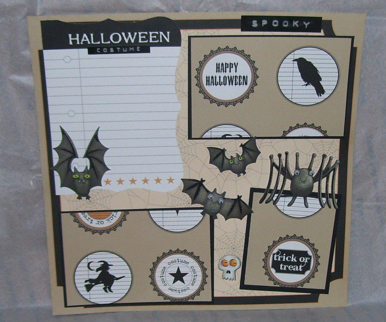 """Spooky Halloween Costume""-Premade Scrapbook Page 12x12"