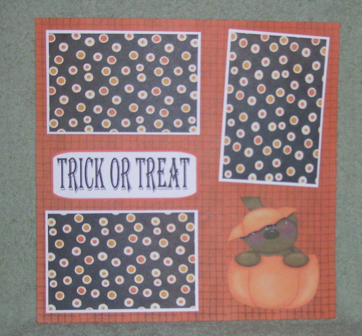 """Trick or Treat Bear In Pumpkin""-Premade Scrapbook Page 12x12"