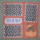"""Trick or Treat Bear In Pumpkin""-Premade Scrapbook Page 12x12"