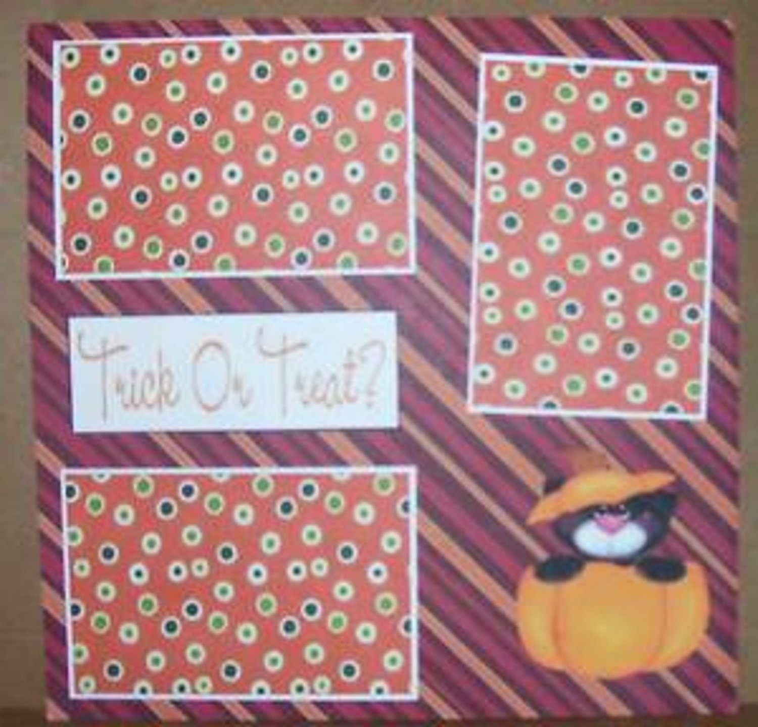 """""""Trick or Treat Cat""""-Premade Scrapbook Page 12x12"""