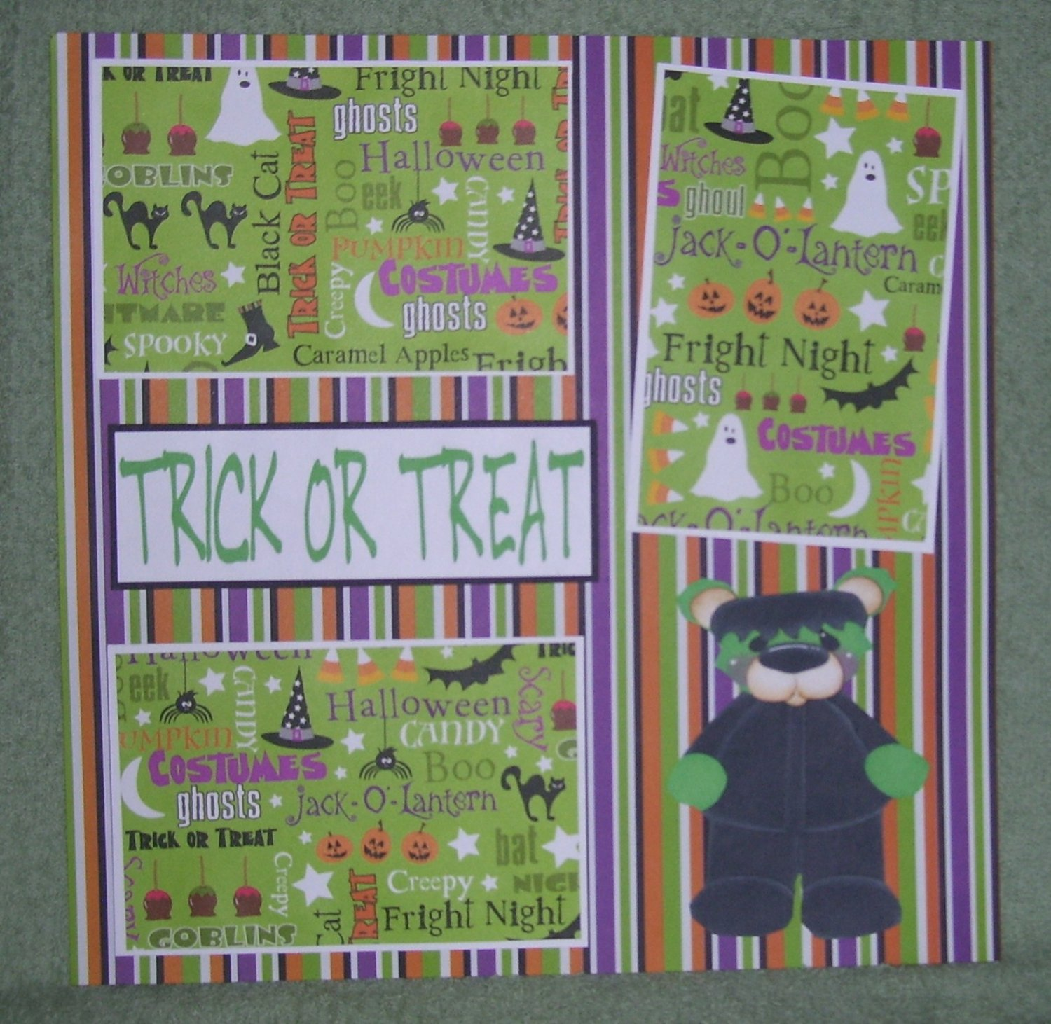 """""""Trick or Treat Frank 2""""-Premade Scrapbook Page 12x12"""