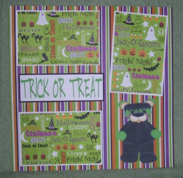 """Trick or Treat Frank 2""-Premade Scrapbook Page 12x12"