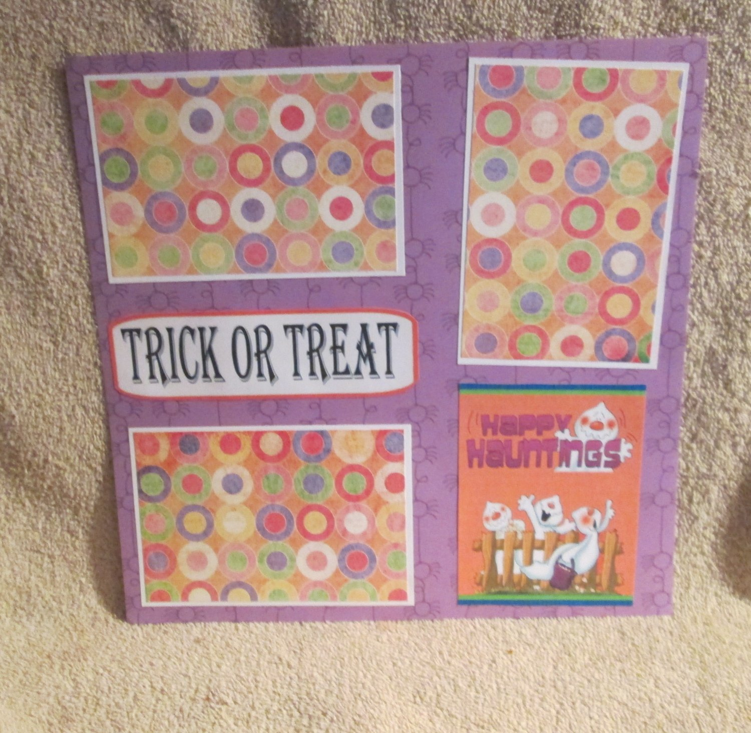 """""""Trick or Treat Happy Hauntings""""-Premade Scrapbook Page 12x12"""