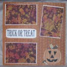 """Trick or Treat Pumpkin w/Candy""-Premade Scrapbook Page 12x12"