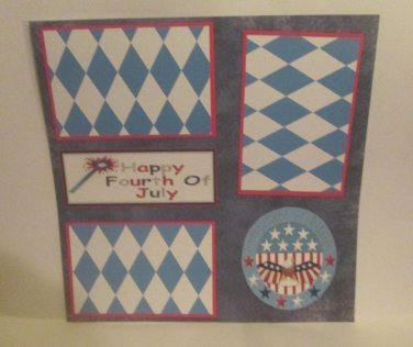 """Happy Fourth of July Circle""-Premade Scrapbook Page 12x12"