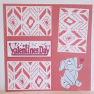 """Valentine's Day Elephant a""-Premade Scrapbook Page 12x12"