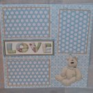 """Love nw beige""-Premade Scrapbook Page 12x12"