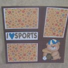 """I Love Sports Baseball""-Premade Scrapbook Page 12x12"