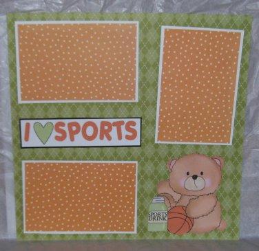 """I Love Sports Basketball""-Premade Scrapbook Page 12x12"