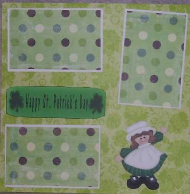 """""""Happy St Patrick's Day 1""""-Premade Scrapbook Page 12x12"""