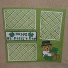 """Happy St Patty's Day Bear""-Premade Scrapbook Page 12x12"
