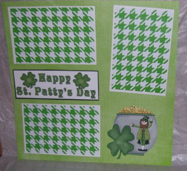 """Happy St Patty's Day""-Premade Scrapbook Page 12x12"