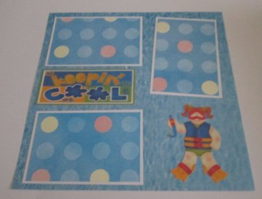 """""""Keeping Cool Girl""""-Premade Scrapbook Page 12x12"""