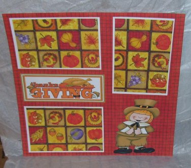 """Thanksgiving Boy al""-Premade Scrapbook Page 12x12"