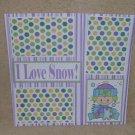 """I Love Snow Girl bl""-Premade Scrapbook Page 12x12"