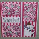 """Wintertime Fun Bear and Snowman-Premade Scrapbook Page 12x12"