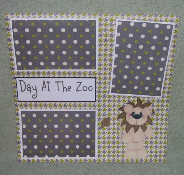 """""""Day At The Zoo""""-Premade Scrapbook Page 12x12"""