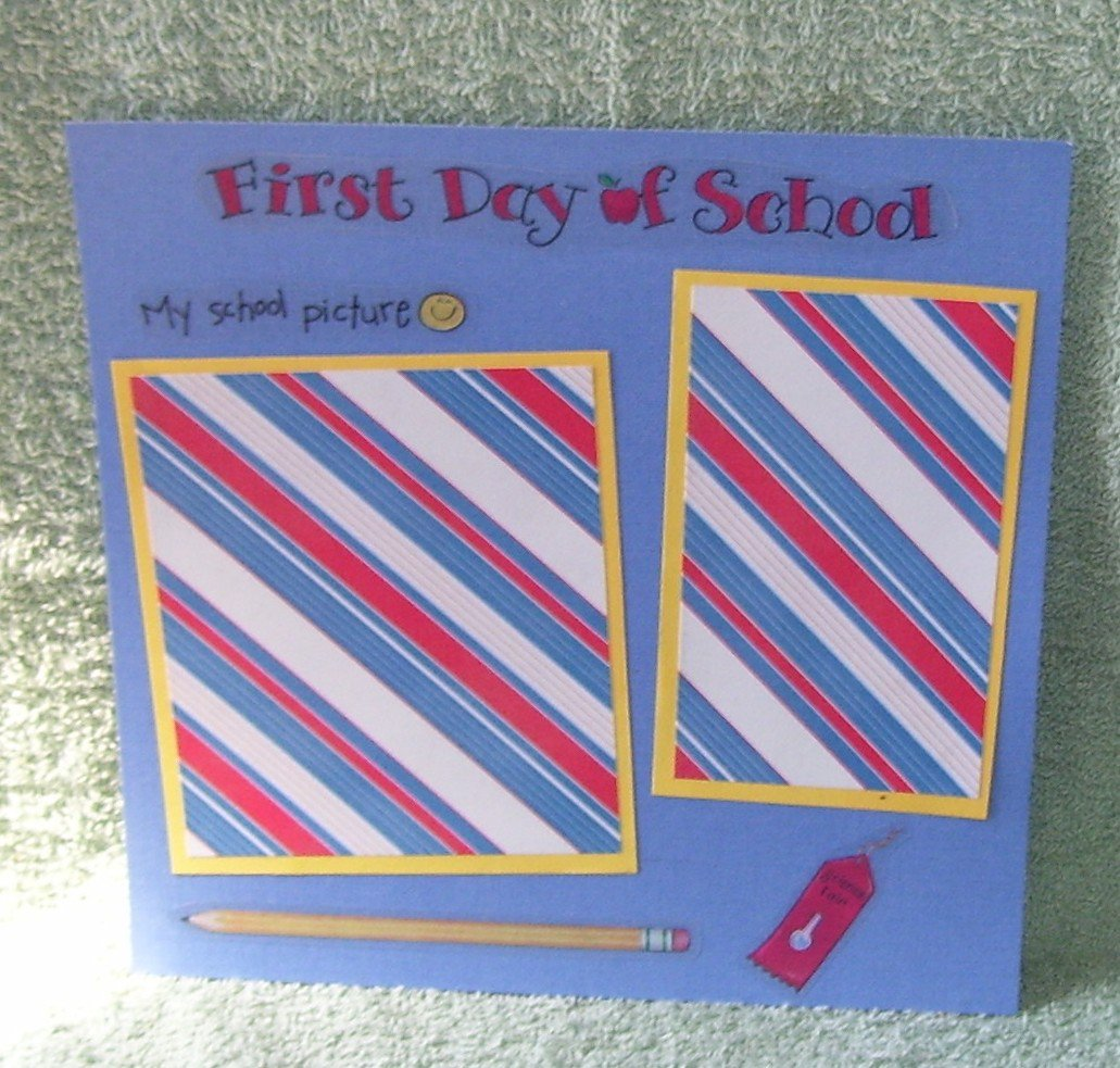 """""""First Day of School My School Picture 2""""-Premade Scrapbook Page -8x8 Layout"""