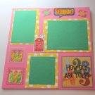 """""""Let's Celebrate""""-Premade Scrapbook Page -8x8 Layout"""