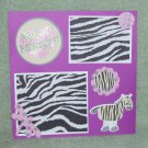 """My Favorite Zebra""-Premade Scrapbook Page -8x8 Layout"