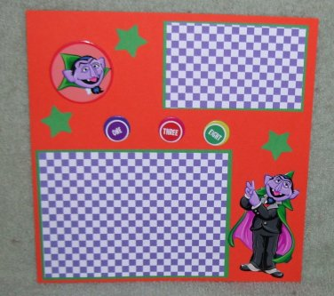 """""""Sesame St Count""""-Premade Scrapbook Page -8x8 Layout"""