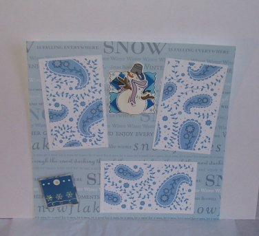 """Snowman""-Premade Scrapbook Page -8x8 Layout"