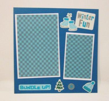 """Winter Fun Bundle Up""-Premade Scrapbook Page -8x8 Layout"