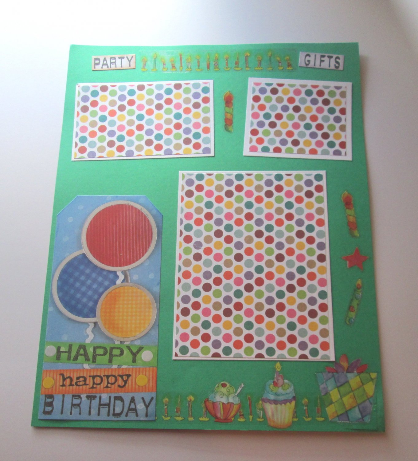 """Party Gifts""-Premade Scrapbook Page -8 1/2 x 11""  Layout"