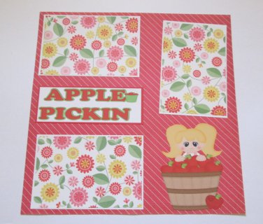 """Apple Pickin Girl""-Premade Scrapbook Page 12x12"