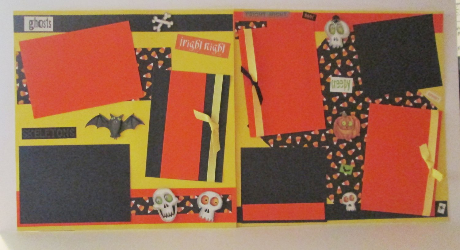 """""""Fright Night dbl""""-Premade Scrapbook Pages 12x12-Double Page Layout"""
