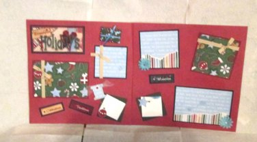 """""""Homespun Holidays dbl""""-Premade Scrapbook Pages 12x12-Double Page Layout"""