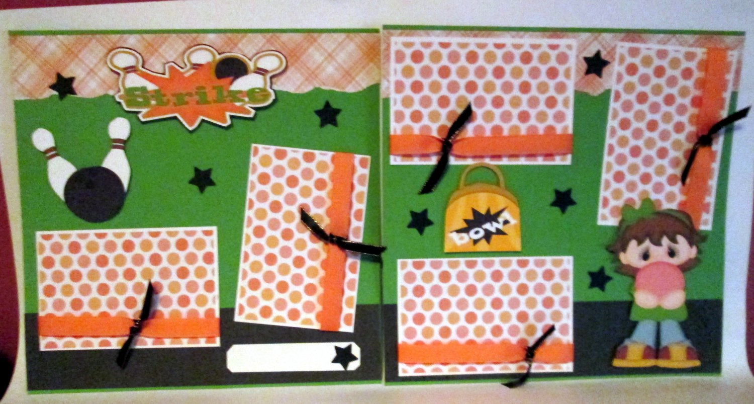 """""""Bowling Girl dbl""""-Premade Scrapbook Pages 12x12-Double Page Layout"""