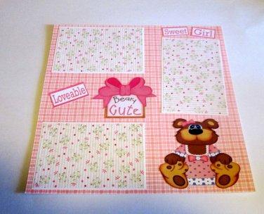 """Beary Cute Sweet Girl""-Premade Scrapbook Page 12x12"