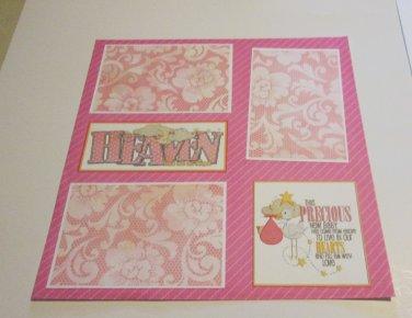 """Heaven Sent Me An Angel Girl a""-Premade Scrapbook Page 12x12"
