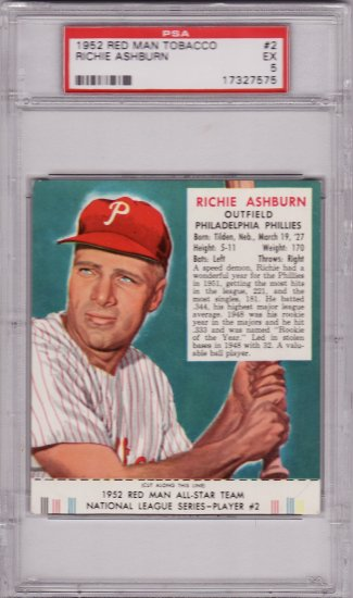 Richie Ashburn 1952 Red Man #2 Graded PSA 5 EX (with Tab)