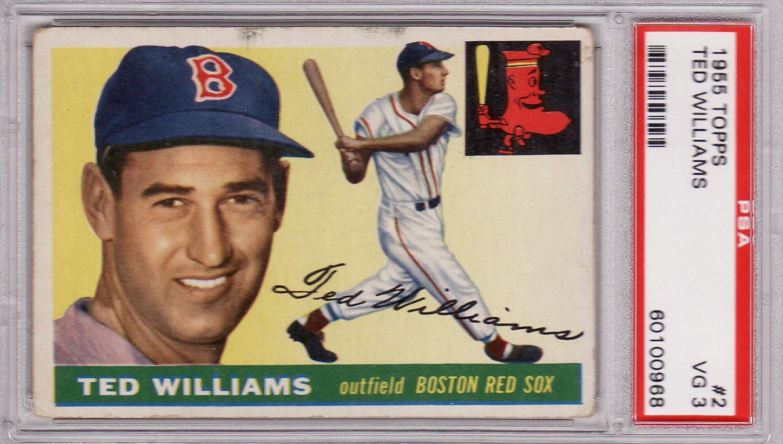 Ted Williams 1955 Topps #2 Baseball Card Graded PSA 3 VG