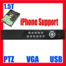 4 Ch Channel H.264 1.5TB HDD Surveillance Security CCTV 120fps DVR System With VGA PTZ Control