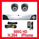 2 Camera H.264 Video CCTV Security Surveillance System 500GB HDD Real Time Night Vision Color CCD
