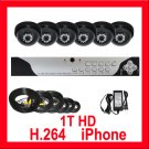 COMPLETE 6 CAMERA VIDEO SURVEILLANCE SECURITY SYSTEM