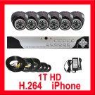 6 Camera 1TB HD CCTV Security Surveillance DVR System