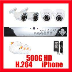 4 Camera H.264 Video CCTV Security Surveillance System
