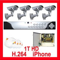 H.264 1TB HD 4 Channel Camera Surveillance DVR System