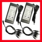 (2) AC/DC Power Adapter 12V 7Amp 1 to 8 Power Splitters
