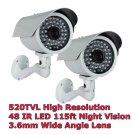 "(2) 1/3"" Sony CCD 520TVL High Performance IR LED Camera"